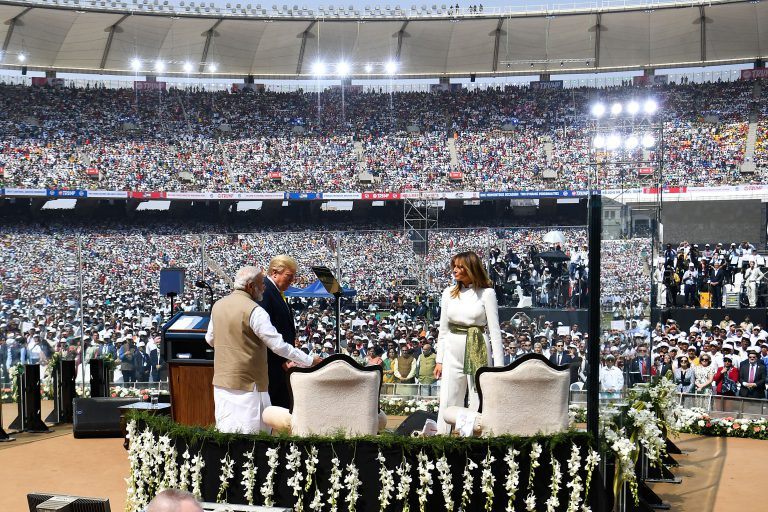 Modi holds huge rally for U.S. president's India visit