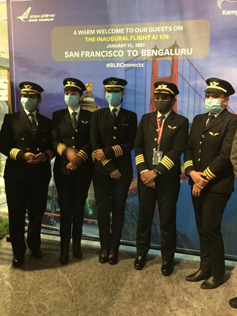 All-women cockpit crew fly inaugural San Francisco-Bengaluru flight